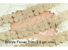 Embriodery Motif - 4 Petal Bronze Flower Trim - 2.6cm wide - 1 meter length