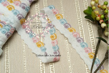 Cotton Lace Trim, Pastel color edges   (3 cm) - 1m length