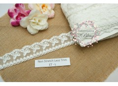 Non Stretch Lace Trim, Embroidery, Soft Gauze (ET.L) - 4.5cm -1m length