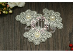 "Bridal Rhinestone Applique 5 ""DIAMOND-PEARL SHAPE"" - 9x6.5cm"