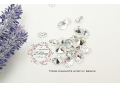 Acrylic diamante 10mm, Pack of 50