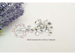 Acrylic diamante 8mm, Pack of 50