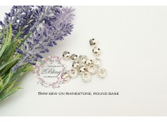 Sew On Rhinestones - Clear Crystal - 8mm - Laceclaws (Pack of 25)