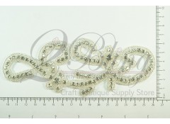 "Bridal Rhinestone Applique 3 ""SWIRL SHAPE"""