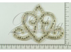 "Bridal Rhinestone Applique 4 ""TIARA SHAPE"""