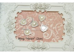 "Bling ""HEART"", Pack of 5 (2 cm)"