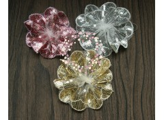 Sequin lace flower (No center), 7-9cm, Pack of 3
