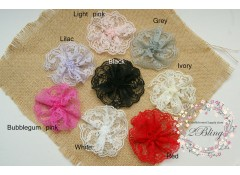 Lace Flower, Polyester (9cm), Pack of 3