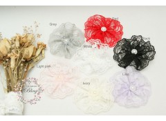 Lace Flower With Pearl (Pack of 3)