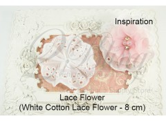 Cotton lace flower, White, 8cm, Pack of 3