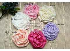 Satin Puff Rosette Flower, Pack of 2