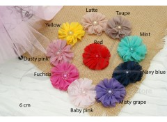 Crinkle Chiffon flower BALLERINA-PEARLS, Small (6cm), Pack of 3