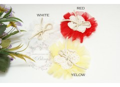 Tulle Flower with Motif, 7cm, Pack of 2