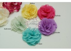 Chiffon ROSETTE, Small (5.5cm), Pack of 3