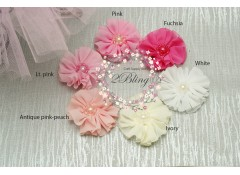 Chiffon Flower, BALLERINA PEARLS - 6cm, Pack of 3