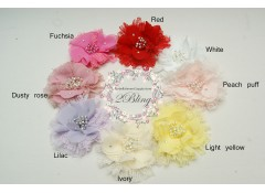 XL Chiffon & lace pearl clusters flower (10.5 cm)