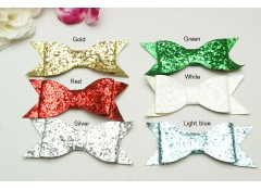 Flat Glitter Bow, L, 10.5 cm, Pack of 2