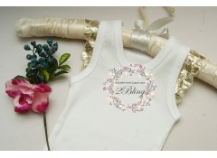 Plain baby singlet, with GOLD sequin sleeve  (000, 00)