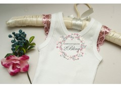 Plain baby singlet, with PINK sequin sleeve (000, 00)