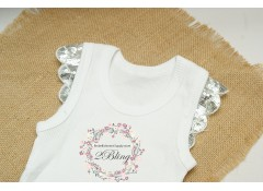 Plain baby singlet, with SILVER sequin sleeve (000, 00)