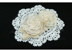 "Collar Applique - Beige (Style-1-""Duo Flowers"")"