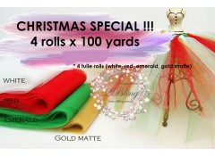 Christmas Tulle Pack 4 rolls x 100 yards - SPECIAL BUY