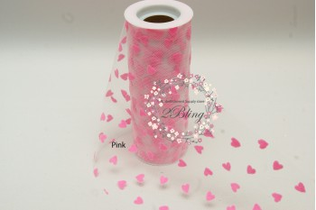 Heart Nylon Tulle roll - 6 inch x 10 yards