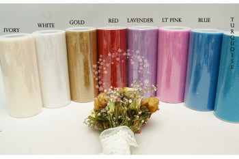 Glitter Polyester Tulle roll - 6 inch x 25 yards