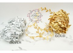 Leaf garland trim, Gold or Silver- 1 meter