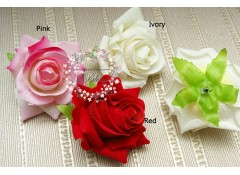 "Silk artificial flower, ""Rose Velvety""  (6-7 cm), Pack of 3"