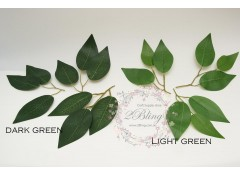 Artificial green leave, plastic stem (3 bunches)