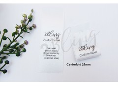 100 Centerfold 25mm Clothing Satin care label, custom print, personalised clothing label tag