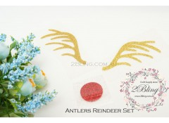 "Iron-on transfer, Christmas Glitter, ""Antlers Reindeer Set"""