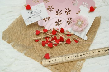 Packaging, Small, Decorative pegs, red heart (3cm) - Pack of 25