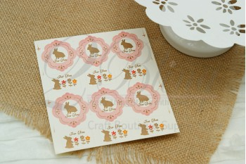 "Stickers, ""Bunny"" (3 sheets/ 36 individual stickers)"