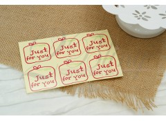 "Stickers, ""Just for you"" (3 sheets/ 18 individual stickers)"