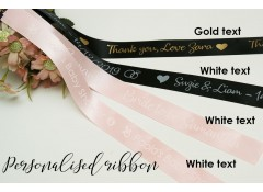 Personalised satin ribbon custom print, packaging, 1 inch (25mm) wide, 4 meters