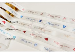 Personalised satin ribbon custom print, packaging, 5/8 inch (16mm) wide, 4 meters