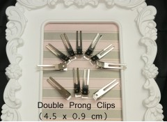 Double Prong Hair Clips (Pack of 25) - 4.5x0.9 cm